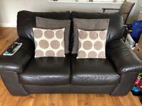 Leather 2 Seater Sofa (Dark Brown)