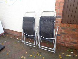 2 Folding Sun Lounger Garden Patio Decking Chairs