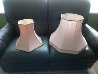 Pale dusky pink piped lampshades (will sell separately see ad)
