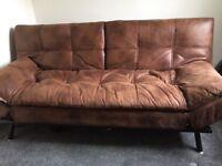 Tan leather sofa bed