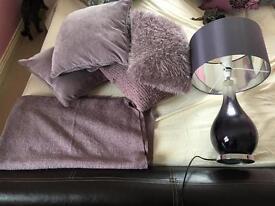 Purple Cushions, lamp & throw