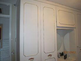 """6 Wardrobe doors, 1 drawer, 1 top box-Very Good Condition-White with Handles-18"""" W by 84""""H"""