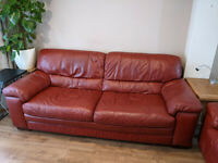 Pure premium leather Furniture Village 3 seeter sofa deep red