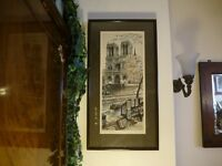 """Beautifully professionally framed colour print of Notre Dame, Paris Approx 12"""" X 24"""" Mint condition"""