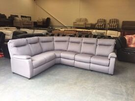 Ex-display Jemima grey fabric corner sofa with one electric recliner seat