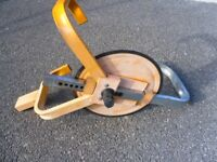 Caravan wheel clamp.