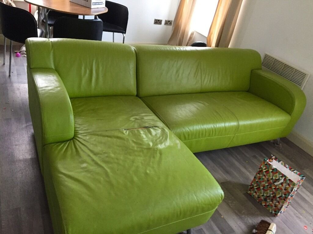 DFS Retro Lime Green Leather Corner Sofa