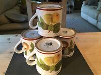 Vintage Set of Four, Denby Colection of Fruit Design China Mugs