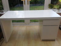 IKEA White Malm Desk with Drawer and Cupboard - in excellent condition