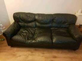 3+2 black leather sofas