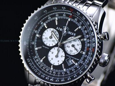 NEW Air Blue By Deep Blue 44mm Swiss Quartz Chrono Black Dial Sapphire SS Watch
