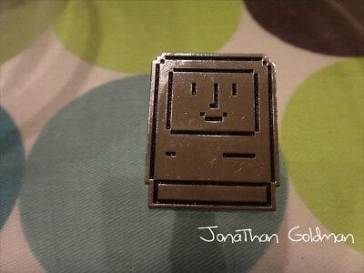 Happy Mac Face Smile Lapel Pin (Silver) - Apple Classic Vintage Mac OS Rare