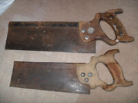 2 x Wooden Handled Tenon Saws (Workshop, Woodwork, Carpentry, Garage) Vintage