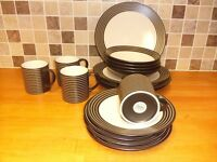 DENBY TEASET, 4 PLACE SETTINGS, SOME USED, SOME NOT. CHIP ON ONE TEA PLATE