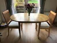 Small oak dining table & chairs