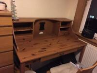 Solid wooden desk with 3 x drawers and 2 x shelves