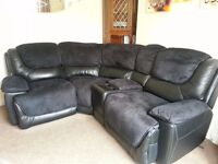 CSL Electric Reclining Corner sofa with storage box & footstool paid £1500 bargain @£850 like new