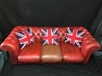 Classic Chesterfield Style Leather Sofa Settee 3 Seater Oxblood Red Conservatory