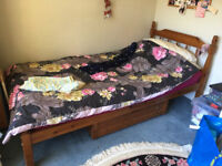 3ft Single Pine Bed with mattress and separate draw below.