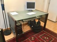Beautiful frosted glass and metal desk