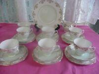 Royal Vale Vintage Green/White Gold Trim China Tea Set