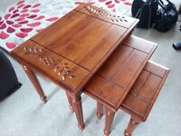 Solid Wood Mahogany Nest of Tables