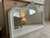 Overmantle Mirror, French Louis style, white clay, as new