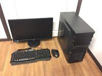 Gaming Computer Tower PC, Setup with Monitor (Intel Quad Core, 8GB RAM, 500GB HD, AMD 7800 Graphics)