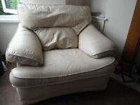 Large Cream Leather Armchair Chair