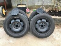 VW T5 17inch Steel Wheels and Caps. Power coated.