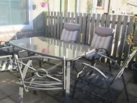 GLASS GARDEN PATIO SET WITH 6 CHAIRS *** PRICE REDUCED***