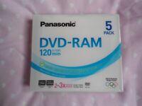 Panasonic 3x speed, 4.7GB, DVD-RAM Discs
