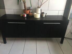 Black Wooden Side Unit -- Good Condition