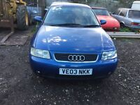 Audi A3 blue 1.6 petrol manual breaking for parts // spares