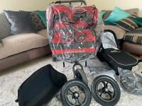 Out n about double v4 pram / buggy / pushchair with eva tyres, cot, basket