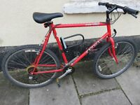 Mountain bike 26 inch wheels, fully working, lock and lights included