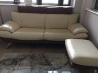 Leather sofa and stool