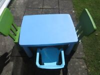 IKEA MAMMUT CHILDRENS TABLE AND 3 CHAIRS (2 MAMMUT) IN VERY GOOD CONDITION ONLY £