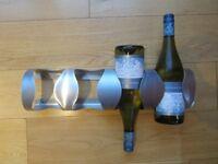 IKEA WINE RACK ~ BRUSHED CHROME ~ HOLDS 4 BOTTLES ~ £2