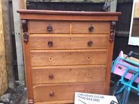 6 drawer pine chest of drawers in good condition height 145cm width 116cm depth 50cm