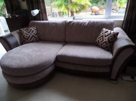 4 seater chaise style sofa & storage footstool