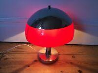 1960s / 70s Vintage / Retro Guzzine style Mushroom Table/Hall Lamp Red & Chrome