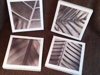 "4 x abstract leaf canvas pictures - wooden frame - 9.5"" square - price is for the set"