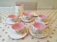 Lovely floral teaset tea set teacups saucers jug