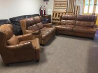3+2+1 Tan Brown Leather Suite
