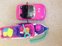 Pink car and boat