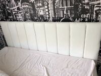White faux leather double bed headboard