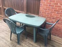 Plastic Garden Table & 5 Chairs - Green