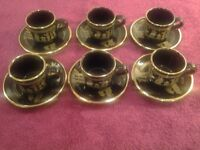 Set of 6 Black Hand Made In 24k Gold Cups & Saucers by G.S.Presenta Ltd Rhodes Greece-Beautiful