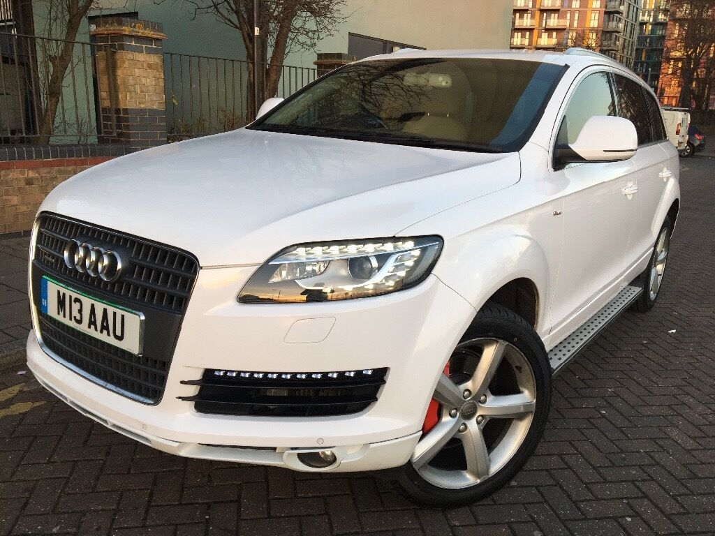 AUDI Q7 2006 UPDATED TO 2013 MODEL WITH NEW SHIP HEADLIGHTS WHITE COLOUR STEPS Number Plate